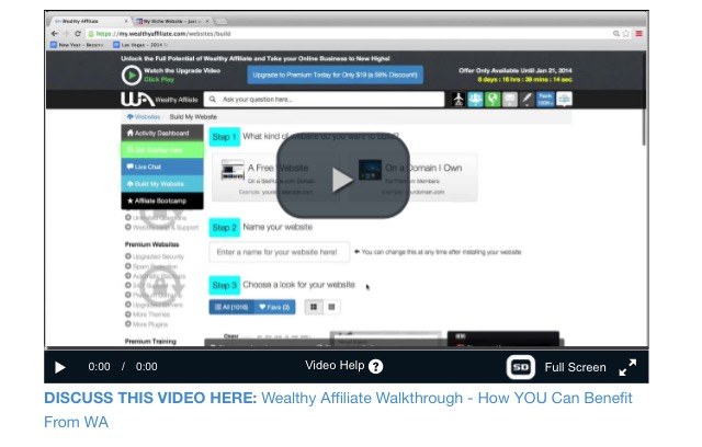 Wealthy Affiliate getting started video
